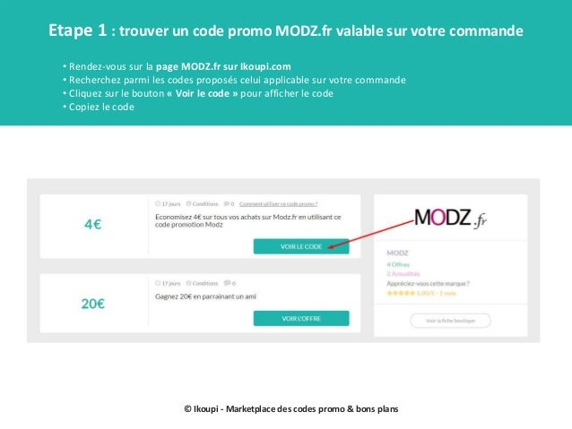 Codes promo modz mode d'emploi Slide 2