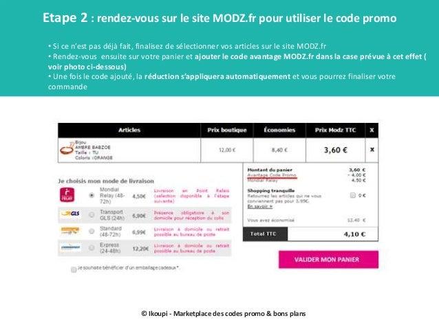 Codes promo modz mode d'emploi Slide 3