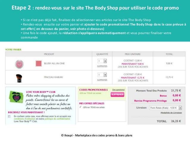 Codes promo the body shop mode d'emploi Slide 3