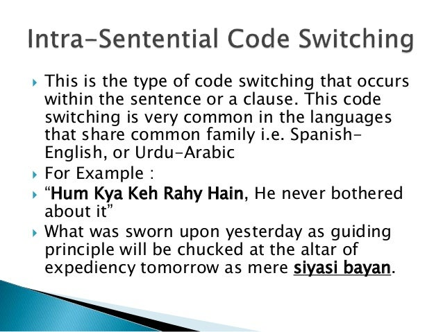  This is the type of code switching that occurs within the sentence or a clause. This code switching is very common in th...