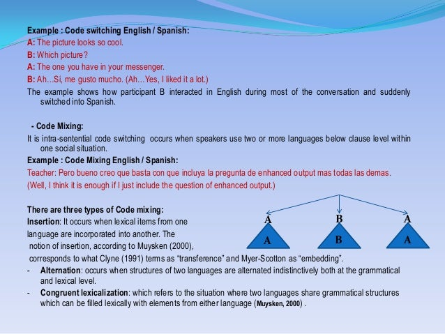 dissertation on code-switching Code-switching is the mixing of words, phrases and sentences from two distinct grammatical (sub) systems across sentence boundaries within the same speech event code-mixing is the embedding of various linguistic.