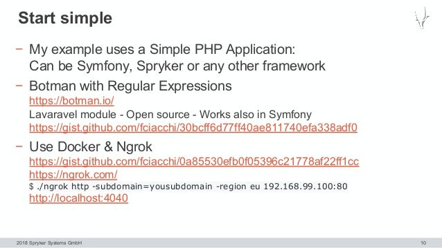 2018 Spryker Systems GmbH Start simple 10 − My example uses a Simple PHP Application: Can be Symfony, Spryker or any other...