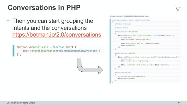 2018 Spryker Systems GmbH Conversations in PHP 11 − Then you can start grouping the intents and the conversations https://...