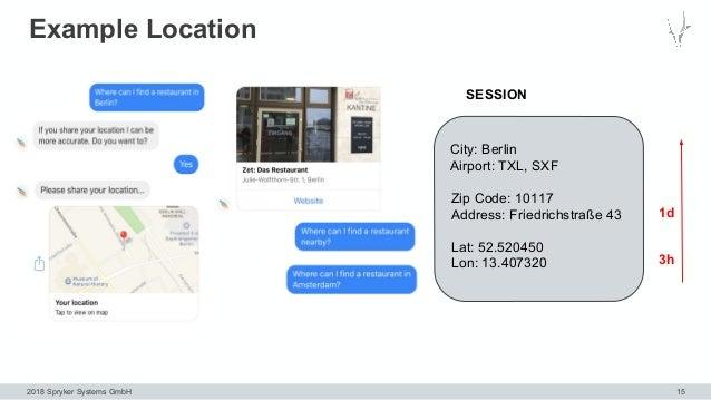 2018 Spryker Systems GmbH Example Location 15 City: Berlin Airport: TXL, SXF SESSION Zip Code: 10117 Address: Friedrichstr...