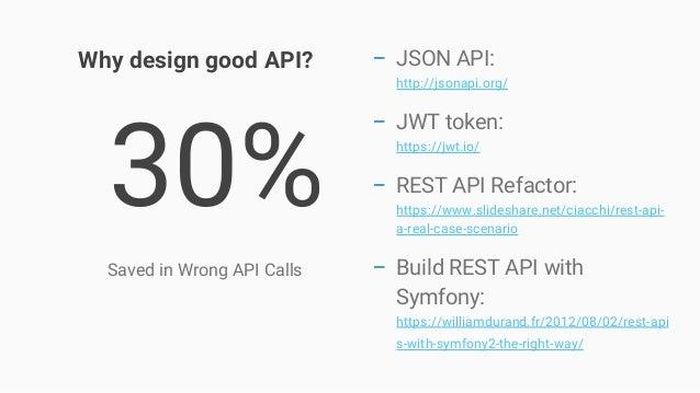 30% Saved in Wrong API Calls − JSON API: http://jsonapi.org/ − JWT token: https://jwt.io/ − REST API Refactor: https://www...