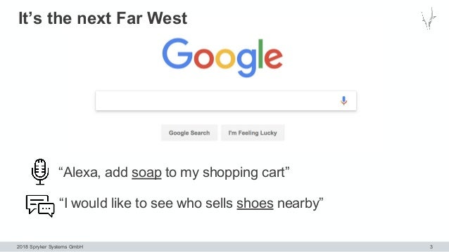 """2018 Spryker Systems GmbH It's the next Far West 3 """"Alexa, add soap to my shopping cart"""" """"I would like to see who sells sh..."""
