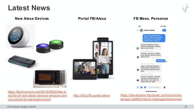 2018 Spryker Systems GmbH Latest News 32 https://developers.facebook.com/docs/mes senger-platform/send-messages/personas/ ...