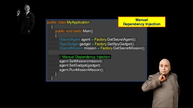 public class DependencyConfigModule : StandardModule { public override void Load() { // Factory Bind<IFactory>().To<factor...