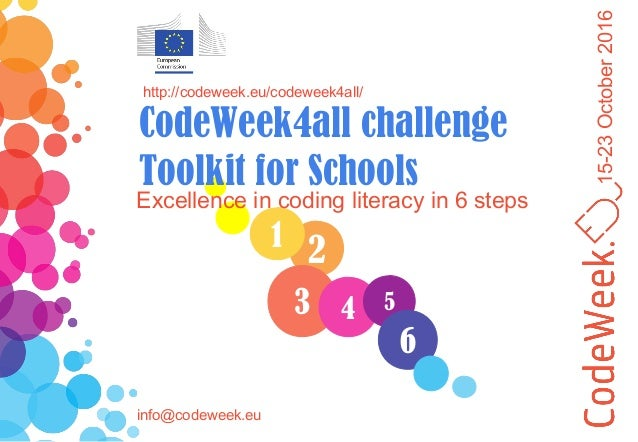 15-23October2016 21 3 Excellence in coding literacy in 6 steps http://codeweek.eu/codeweek4all/ CodeWeek4all challenge Too...