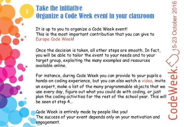 Europe Code Week in the classroom - Teacher guide Slide 3