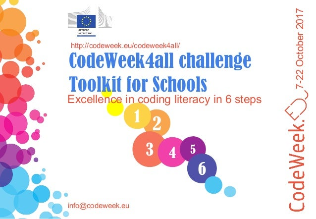 7-22October2017 21 3 Excellence in coding literacy in 6 steps http://codeweek.eu/codeweek4all/ CodeWeek4all challenge Tool...
