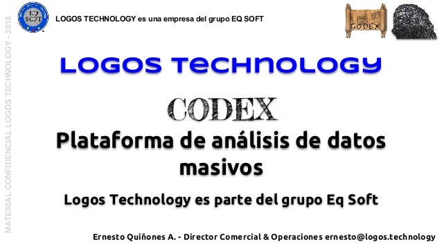Logos Technology CODEX Plataforma de análisis de datos masivos Logos Technology es parte del grupo Eq Soft MATERIALCONFIDE...