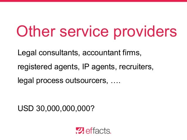 Other service providers Legal consultants, accountant firms, registered agents, IP agents, recruiters, legal process outso...