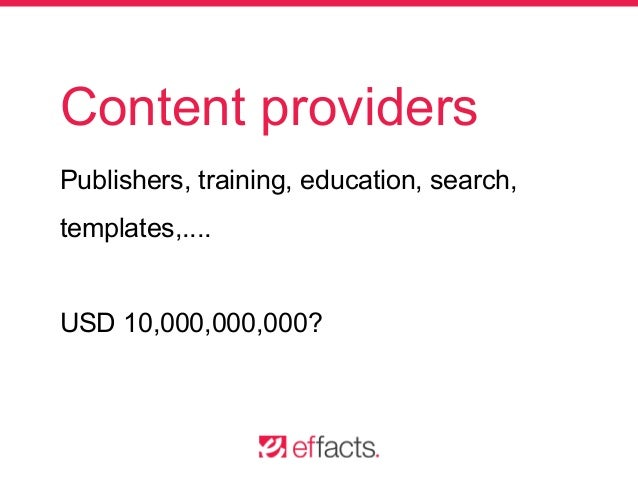 Content providers Publishers, training, education, search, templates,.... USD 10,000,000,000?