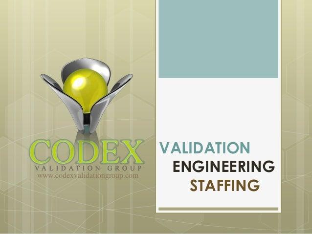 VALIDATIONwww.codexvalidationgroup.com                                ENGINEERING                                  STAFFING