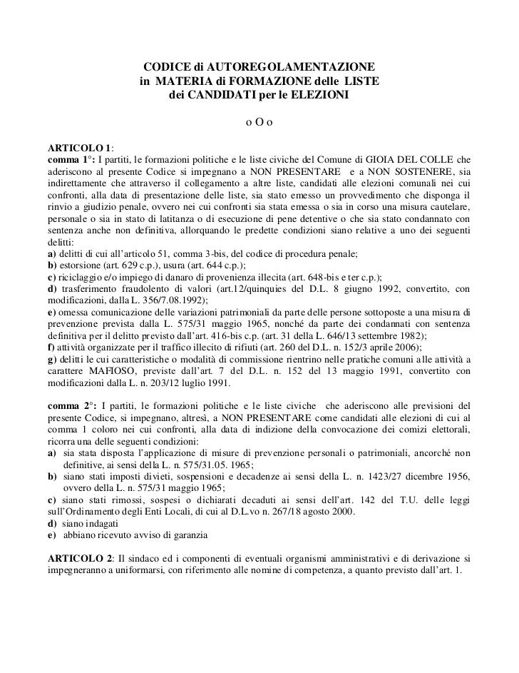 CODICE di AUTOREGOLAMENTAZIONE                       in MATERIA di FORMAZIONE delle LISTE                           dei CA...