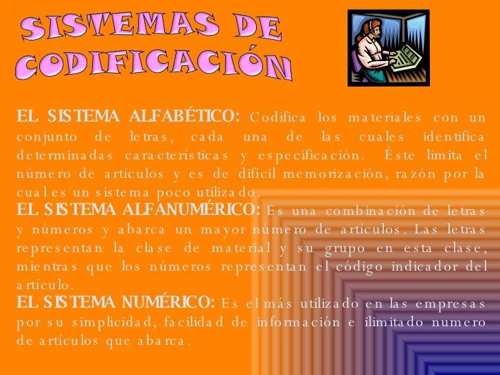 EL SISTEMA ALFABÉTICO:  Codifica los materiales con un conjunto de letras, cada una de las cuales identifica determinadas ...