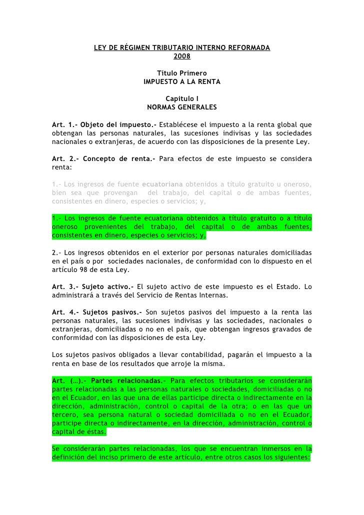 LEY DE RÉGIMEN TRIBUTARIO INTERNO REFORMADA                                  2008                                 Título P...