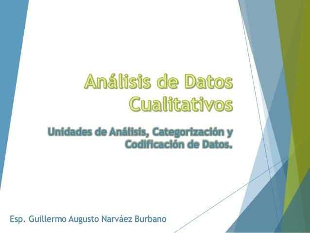 Esp. Guillermo Augusto Narváez Burbano Unidades de Análisis, Categorización y Codificación de Datos.