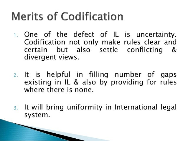 what does codified mean in law