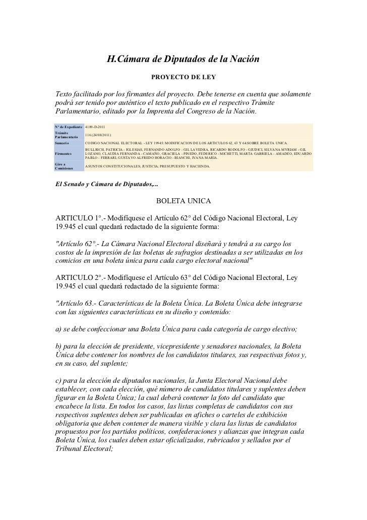 H.Cámara de Diputados de la Nación                                                PROYECTO DE LEYTexto facilitado por los ...