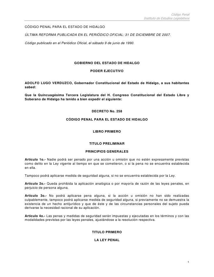 Código Penal                                                                           Instituto de Estudios Legislativos ...