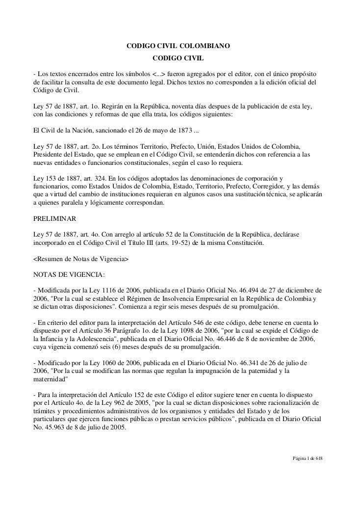 CODIGO CIVIL COLOMBIANO                                            CODIGO CIVIL- Los textos encerrados entre los símbolos ...