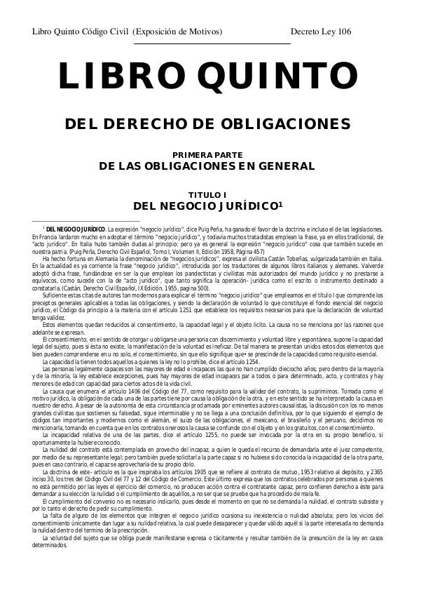 Codigo Civil Libro 5 Exposicion Motivos