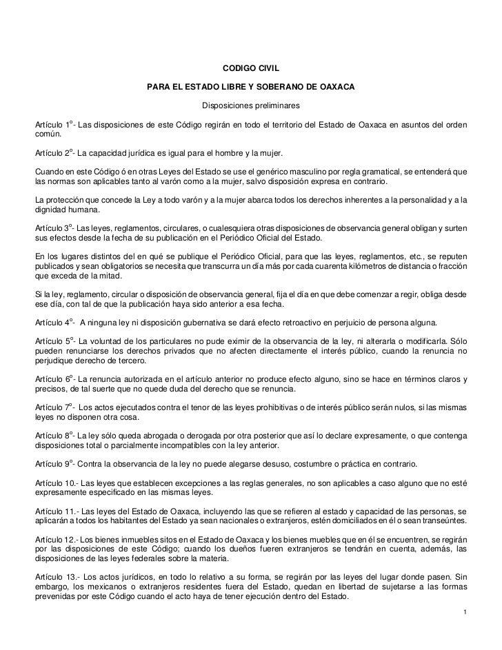 CODIGO CIVIL                                PARA EL ESTADO LIBRE Y SOBERANO DE OAXACA                                     ...