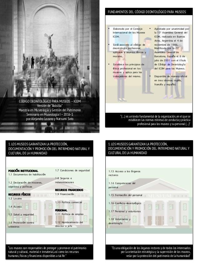 """CÓDIGO DEONTOLÓGICO PARA MUSEOS –ICOM Versión de """"Bolsillo"""" Maestría en Museología y Gestión del Patrimonio Seminario en M..."""