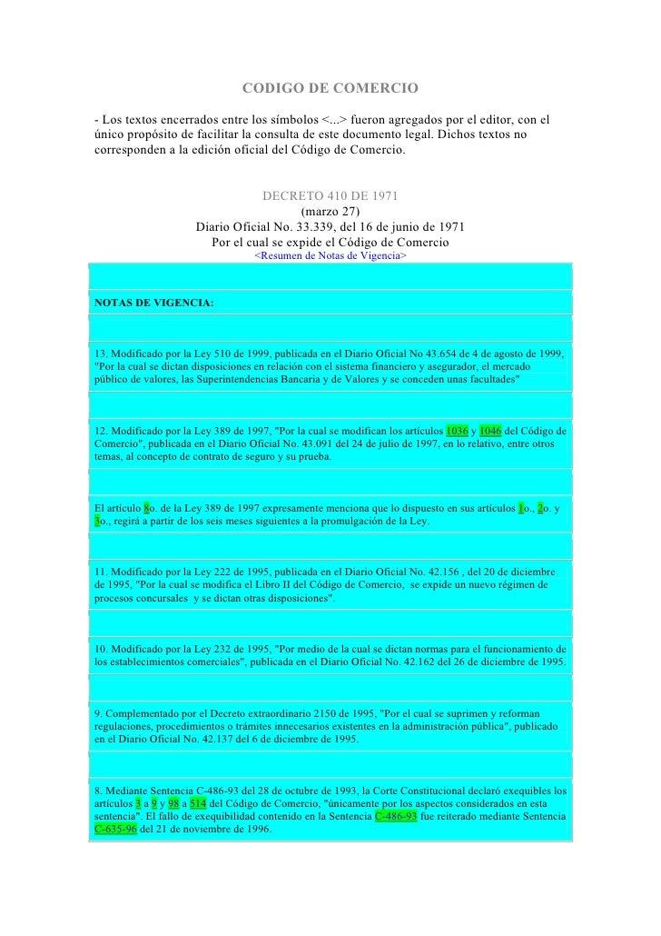 CODIGO DE COMERCIO  - Los textos encerrados entre los símbolos <...> fueron agregados por el editor, con el único propósit...