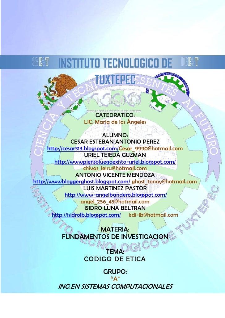 INSTITUTO TECNOLOGICO DE                  TUXTEPEC                         CATEDRATICO:                   LIC: María de lo...