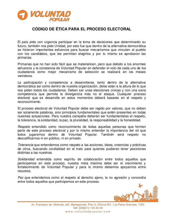 CÓDIGO DE ÉTICA PARA EL PROCESO ELECTORALEl país pide con urgencia participar en la toma de decisiones que determinarán su...