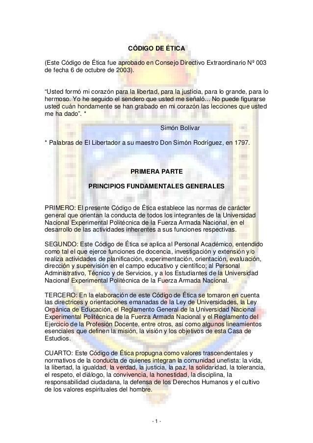 CÓDIGO DE ÉTICA(Este Código de Ética fue aprobado en Consejo Directivo Extraordinario Nº 003de fecha 6 de octubre de 2003)...