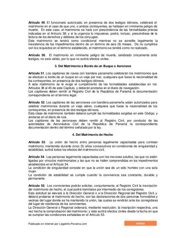 Matrimonio Catolico En Peligro De Muerte : Codigo de la familia panamá