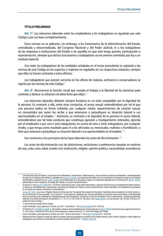 19 Dirección del Trabajo TÍTULO PRELIMINAR Art. 5°. El ejercicio de las facultades que la ley le reconoce al empleador, ti...