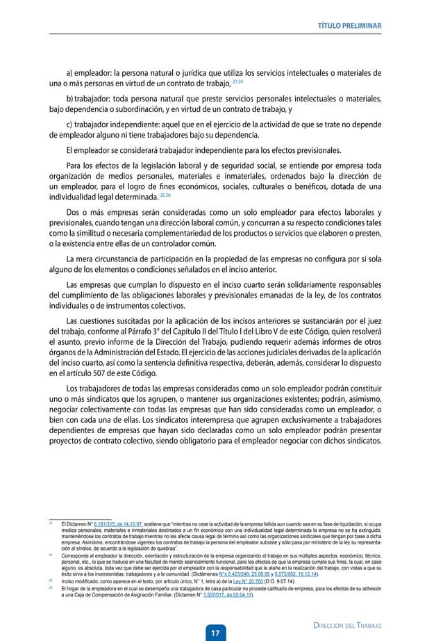 21 Dirección del Trabajo LIBRO I DEL CONTRATO INDIVIDUAL DE TRABAJO Y DE LA CAPACITACIÓN LABORAL