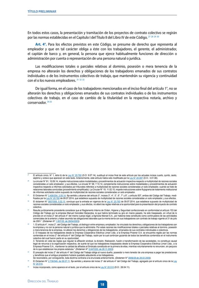 23 Dirección del Trabajo LIBRO I DEL CONTRATO INDIVIDUAL DETRABAJOY DE LA CAPACITACIÓN LABORAL Título I : DEL CONTRATO IND...