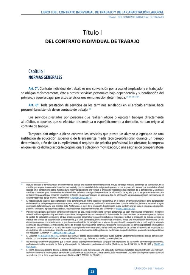 28 Dirección del Trabajo LIBRO I DEL CONTRATO INDIVIDUAL DETRABAJOY DE LA CAPACITACIÓN LABORAL Título I : DEL CONTRATO IND...