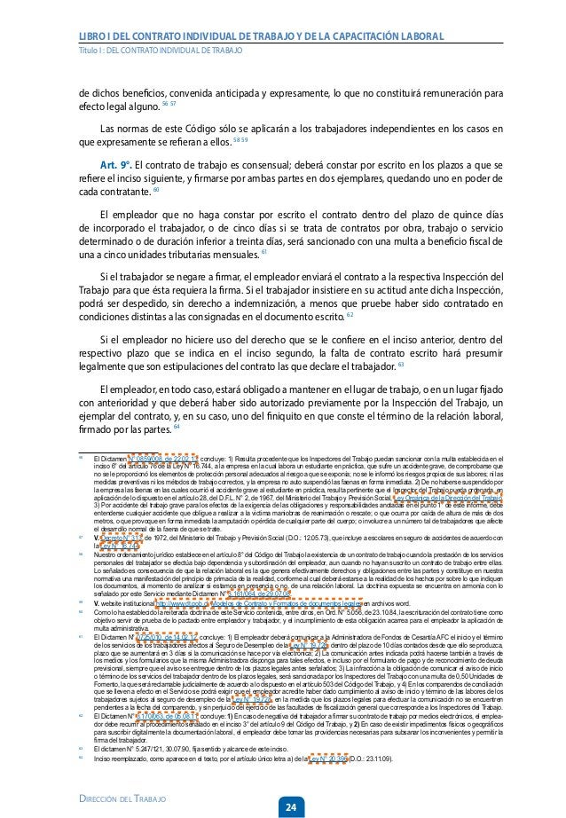 29 Dirección del Trabajo LIBRO I DEL CONTRATO INDIVIDUAL DETRABAJOY DE LA CAPACITACIÓN LABORAL Título I : DEL CONTRATO IND...