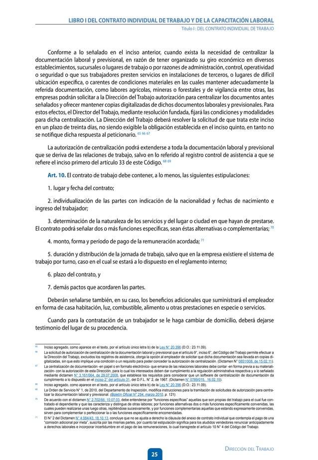 30 Dirección del Trabajo LIBRO I DEL CONTRATO INDIVIDUAL DETRABAJOY DE LA CAPACITACIÓN LABORAL Título I : DEL CONTRATO IND...