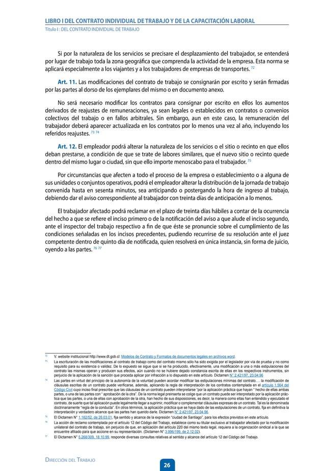 31 Dirección del Trabajo LIBRO I DEL CONTRATO INDIVIDUAL DETRABAJOY DE LA CAPACITACIÓN LABORAL Título I : DEL CONTRATO IND...