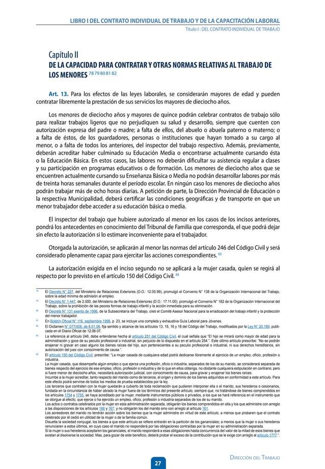32 Dirección del Trabajo LIBRO I DEL CONTRATO INDIVIDUAL DETRABAJOY DE LA CAPACITACIÓN LABORAL Título I : DEL CONTRATO IND...