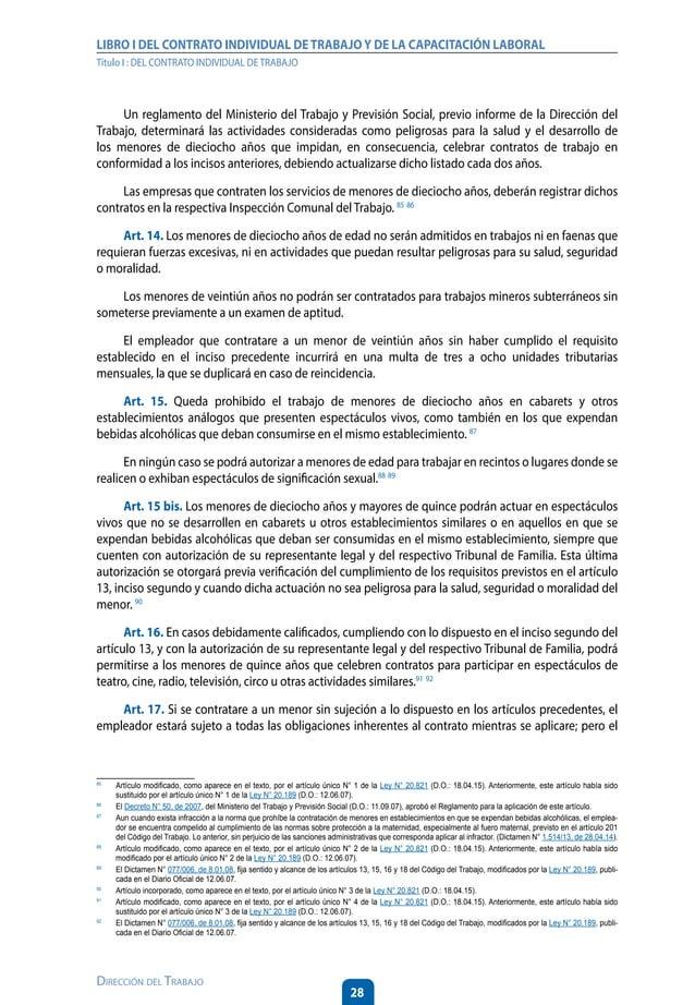 33 Dirección del Trabajo LIBRO I DEL CONTRATO INDIVIDUAL DETRABAJOY DE LA CAPACITACIÓN LABORAL Título I : DEL CONTRATO IND...