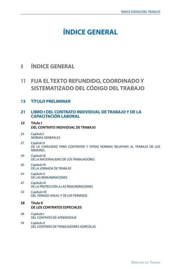 ÍNDICE CÓDIGO DELTRABAJO Dirección del Trabajo 62 Capítulo III DEL CONTRATO DE LOS TRABAJADORES EMBARCADOS O GENTE DE MAR...