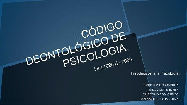 Introducción a la Psicología ESPINOSA RIOS, SANDRA MEJIAALZATE, ELMER QUIROGA PARDO, CARLOS SALAZAR BECERRA, ZULMA