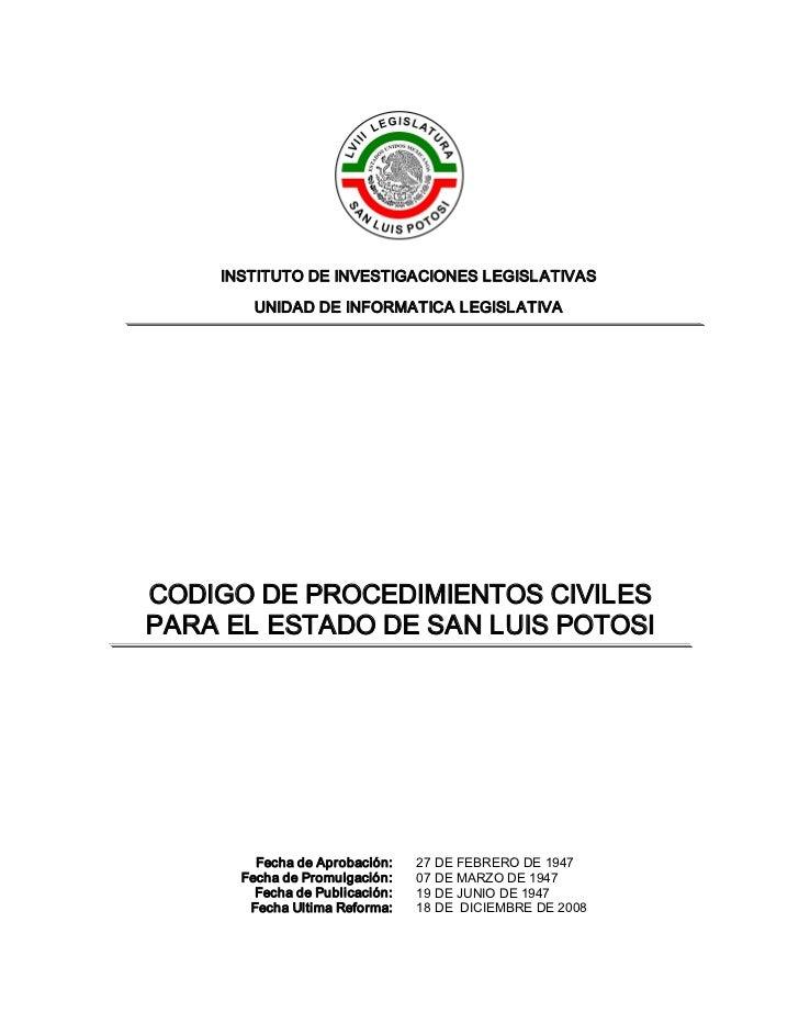 INSTITUTODEINVESTIGACIONESLEGISLATIVAS        UNIDADDEINFORMATICALEGISLATIVACODIGODEPROCEDIMIENTOSCIVILESPARAE...