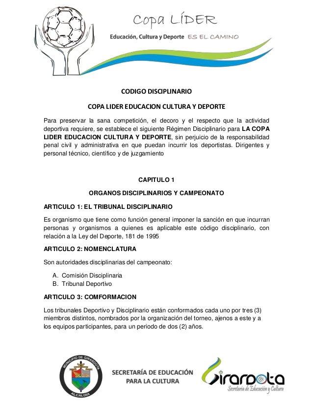 }                            CODIGO DISCIPLINARIO                COPA LIDER EDUCACION CULTURA Y DEPORTEPara preservar la s...