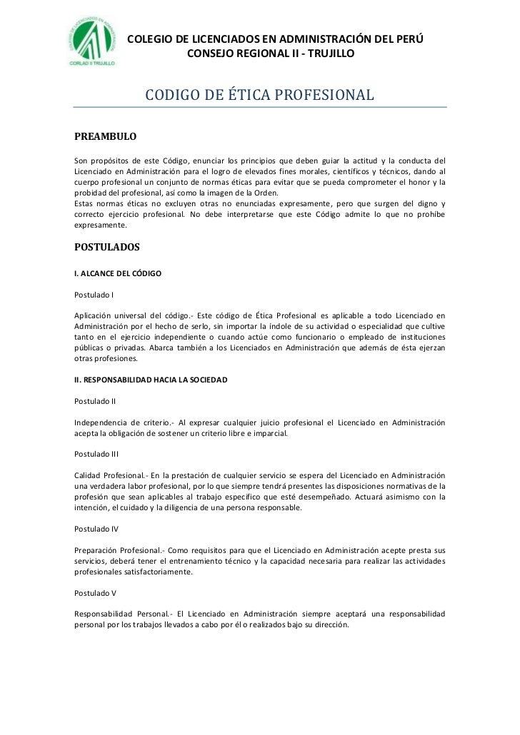 COLEGIO DE LICENCIADOS EN ADMINISTRACIÓN DEL PERÚ                          CONSEJO REGIONAL II - TRUJILLO                 ...