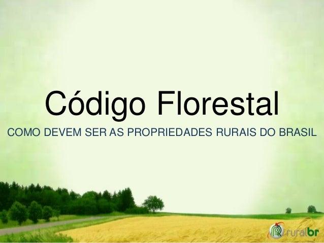 Código Florestal COMO DEVEM SER AS PROPRIEDADES RURAIS DO BRASIL